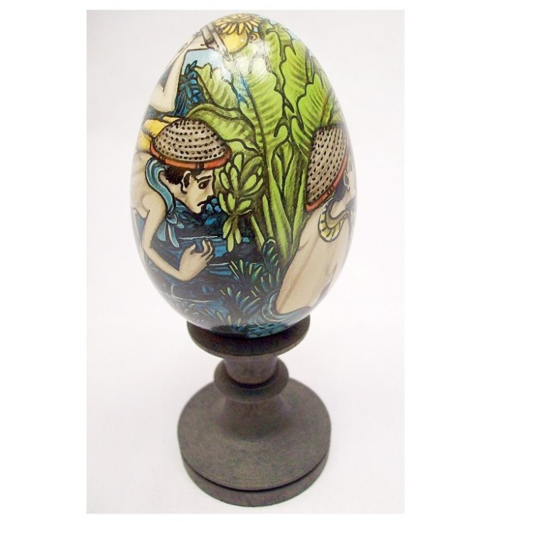 Colored Hand Painted Goose Egg With A Hand Carved Wooden Stand