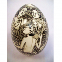 Black / White Hand Painted Goose Egg With A Carved Wooden Stand
