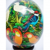 Colored Hand Painted Ostrich Egg With A Hand Carved Wooden Stand
