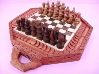 Chess Set, 2 Inch Tall King, Hand Carved From Wood And Colored