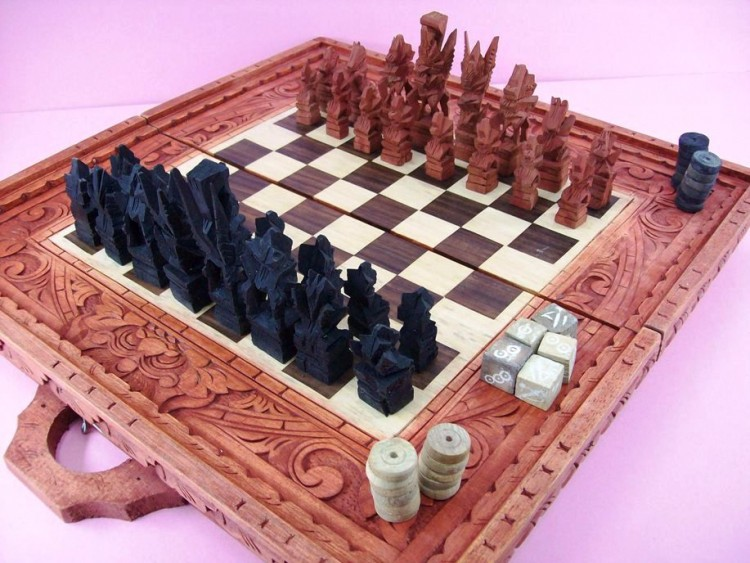 "Chess, Checkers & Backgammon Set - 3 1/2"" King, Hand Carved, Wooden"