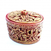 Handcrafted, Oval Shaped, Red And Gold Colored Jewelry Box