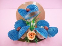 Handcrafted & Colored Sea Shell Decoration, Blue Flowered Tree