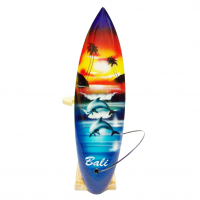 Intricately Carved And Painted - Miniature Surfboard With Stand