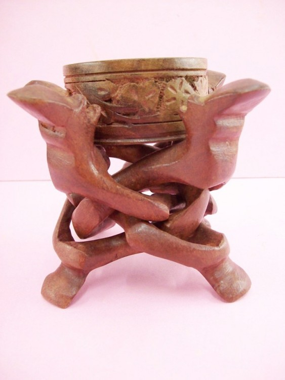 Hand Carved And Colored Wooden Humanoid Themed Ashtray