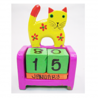Hand Carved And Colored Yellow Cat Themed Perpetual Calendar