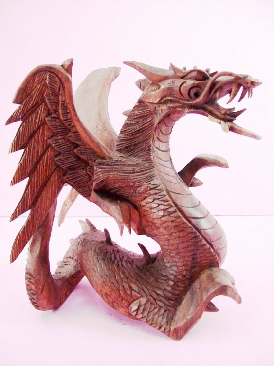 "8"" Tall Angry Dragon Figurine, Hand Carved From Wood & Colored"