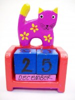 Hand Carved And Colored Purple Cat Themed Perpetual Calendar