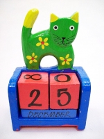 Hand Carved And Colored Green Cat Themed Perpetual Calendar