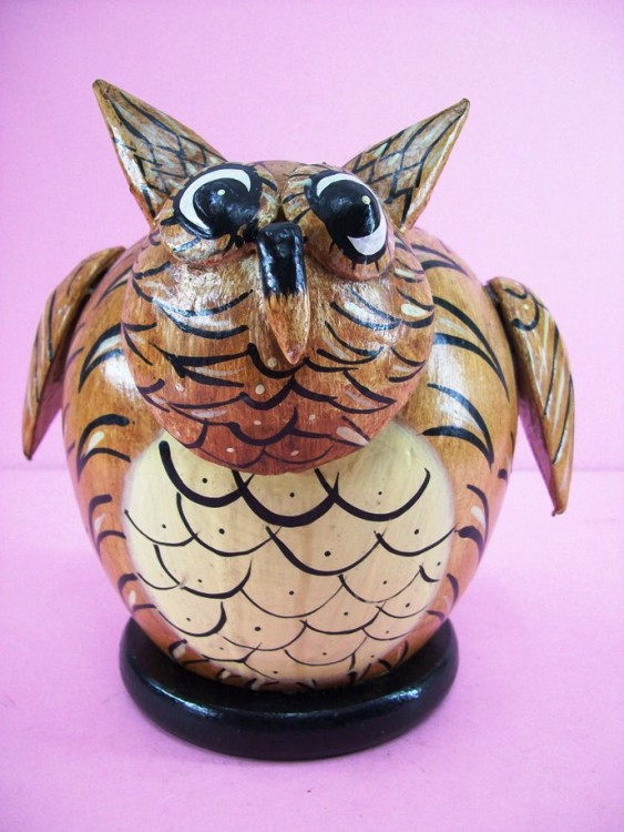 Owl Shaped And Colored Piggy Bank, Hand Carved From Wood