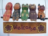 Animal Themed Home Welcome Sign, Hand Carved & Colored