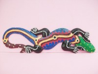 Colorful Gecko Lizard, Hand Carved And Colored From Wood
