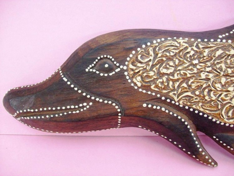 White Beaded Dolphin, Hand Carved And Colored From Wood
