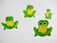 Frog Shaped And Colored Wind Chime, Hand Carved From Wood