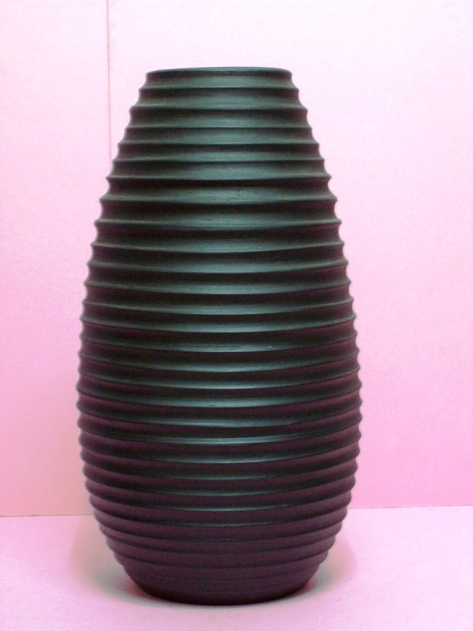Yuli Store Handcrafted Pitch Black Colored Ceramic Vase 1 15 Tall