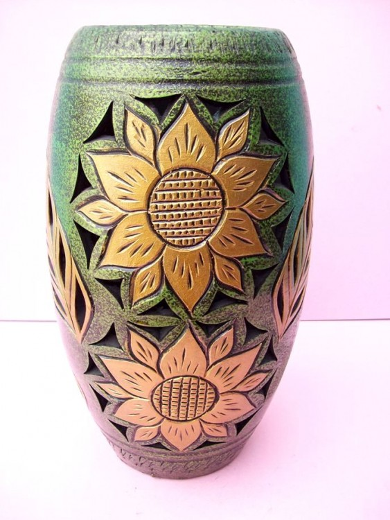 Handcrafted Green Ceramic Vase With Gold Colored Sun Flowers
