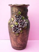 Bronze Ceramic Vase With Protruding Colored Leaves & Flowers
