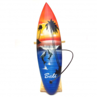 Hand Carved And Painted - Miniature Surfboard With Brown Stand