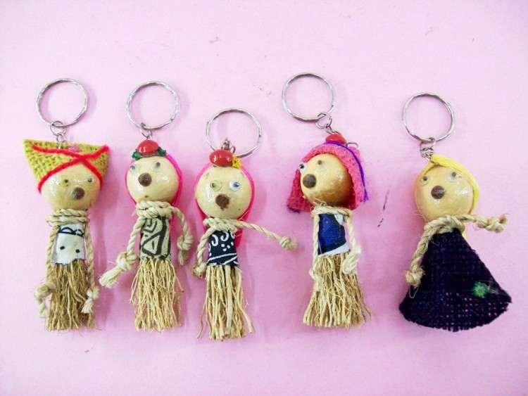 Humanoid Themed Key Chains, Handcrafted From Wood & Rattan