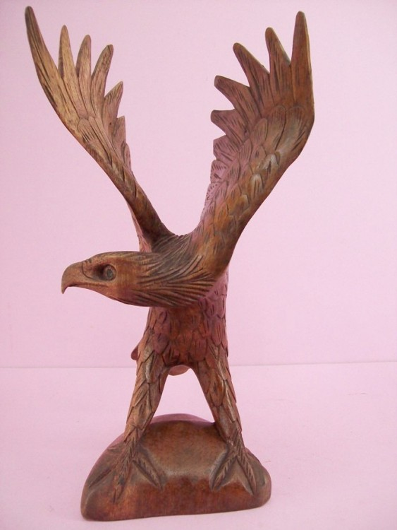 Majestic Great Brown Eagle, Hand Carved And Colored, Wooden