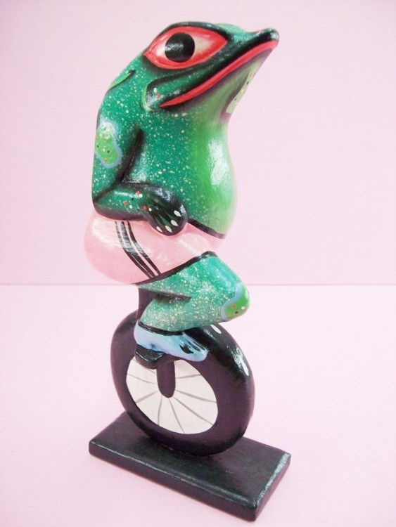 Exercising Frog Figurine, Hand Carved, Wooden, Colored