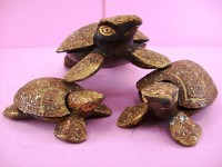 Hand Carved Wooden Turtle Shaped And Colored Ashtrays