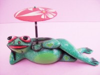 Green Frog Lying Down With A Red Umbrella, Hand Carved, Wooden