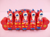 Five Red Cats Sitting On A Red Sofa, Hand Carved & Colored, Wooden